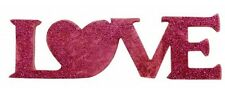 Mot LOVE Bois Fuschia Décoration de Table Mariage Baptême Fête
