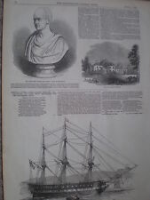 USA Navy frigate USS Macedonian at Cork Ireland 1847 old print and article ref S