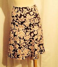Gorgeous Ann Taylor Brown Red Floral Silk Cotton Career Skirt Size Petite 12P