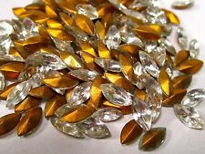 144 böhmische Strasssteine crystal navette 8x4 mm 1960 transparent weiss