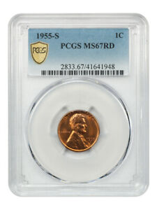 1955-S 1c PCGS MS67 RD - Lincoln Cent
