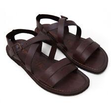 Sandali ARTIGIANALI Salentini da uomo in pelle color Cuoio scuro 100% SALENTO
