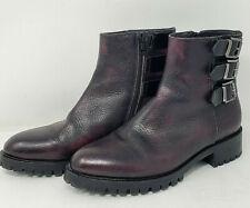 Napoleoni Boots Women's Cordovan Leather Moto Combat Ankle Booties Sz 38 8 ITALY