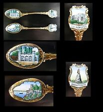 2 Beautiful Enamel,Gold Plated Antique Coffee,Ice Cream Spoons,Russian Empire