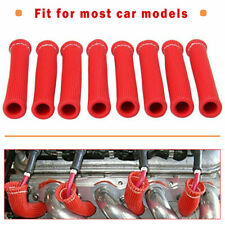 8Pcs 2500° Red For SBC Spark Plug Wire Boots Protectors Sleeve Heat Shield Cover