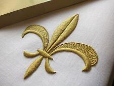 Gold~~ FLEUR DE LYS GRANDE Vtg MARGHAB Madeira Hand Embroidery Linen Towel 14x21