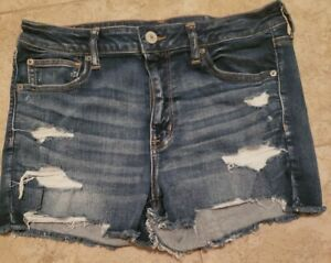American Eagle Outfitters High Rise  Shortie Distressed Denim Cut Off Shorts 14