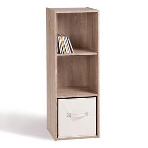 3 Cube Shelf Display Brown Bookshelf Rack Wooden Shelving Unit CD DVD Storage