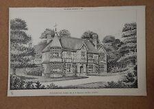 Antique Architects print Horehamhurst Sussex  The Builder 1887