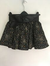 Black Floral Skirt With Integrated Belt Size 8