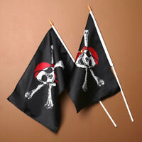 Halloween Skull Pirate Flag Polyester Flag With Pole Party Decor 30x45CM