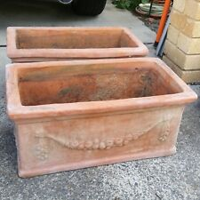 Pair of Large Terracotta Trough Shaped Pots with Garland Decoration on all sides