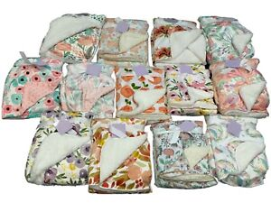 Any Beautiful Ultra-Soft Fleece Baby Sherpa 2 layer Floral Blanket with Fur Back