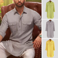 Men's Shirt Kurta Indian Ethnic Dress Summer Formal Wear Tops Tunic Kurta Pajama