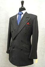 Men's Dark Grey Pinstripe Crombie Suit Jacket Blazer 38R SK1136