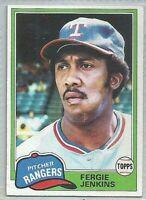 1981 TOPPS FERGIE JENKINS TEXAS RANGERS #158 BASEBALL CARD