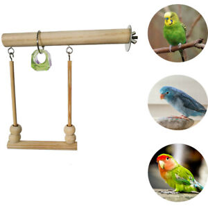 Bird Swing Toy Wooden Parrot Perch Stand Playstand With Chewing Beads Bird Toys