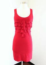 NWT Express Red Ruffle Front Tiered Bodycon Cocktail Party Club Dress Size S