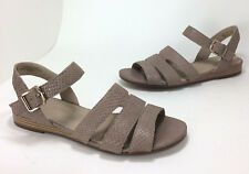 New $85 Naturalizer Kaye size 7.5 Taupe Grey Snake Leather Low Wedge Sandals