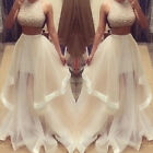 2016 Pageant Sequins Two Pieces Formal Evening Dress Prom Gown Party Ball Long