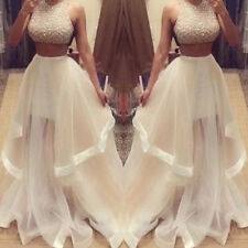 Two Pieces Prom Dress Crew Neck Sequins Formal Party Pageant Evening Dress 2