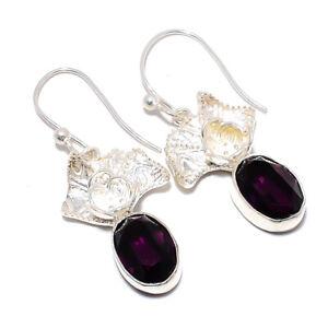 "African Amethyst Gemstone 925 Sterling Silver Handmade Earring 1.93"" JE-2740"