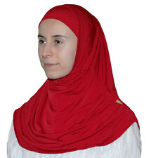 Turkish Ready Instant Hijab Firdevs Practical Scarf & Bonnet Bright Red