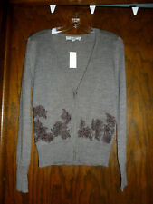 ANN TAYLOR LOFT WOOL MELANGE LACE INSET CARDIGAN HEATHER TAUPE NWT $59.50 S