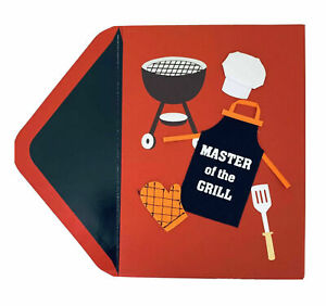 Papyrus Father's Day card - MASTER OF THE GRILL - with cloth apron, hat & mitt