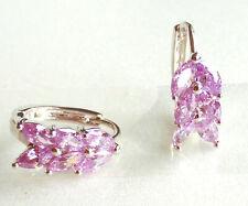 Women Girl Pink Simulated Diamond 14mm Huggie Hoop Earrings White Gold Plated UK