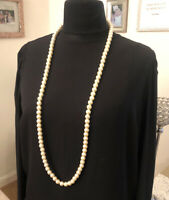 Vintage Mid-Century Glass Faux Pearl Necklace Long Flapper Beads Jewellery(1E)