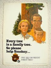 SMOKEY POSTER 1965 US FOREST SERVICE / CALIF DIV of FORESTRY * Family Trees