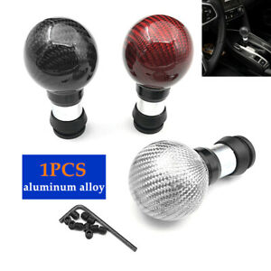 1PC Handball Extend Carbon Fiber Car Gear Shift Knob W/Button Shifter Lever Head