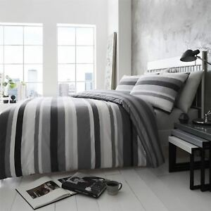 HLC Simply Stripes Black Charcoal Grey White Reversible Duvet Cover Bedding Set