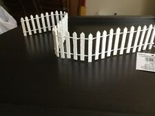 "Miniature Dollhouse FAIRY GARDEN Furniture ~ White Wood Picket Fence 2"" ~ NEW"