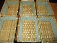 JOBLOT OF 6 SMALL NEW AQUA WICKER BASKETS 4 GIFTS STORAGE BATHROOMS KITCHENS