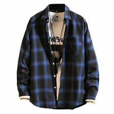 Men Checkered Spring Autumn Long Sleeve Flannel Plaid Shirt Office Style Casual