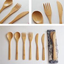 Bamboo Wooden Cutlery Set Spoon Fork Cutter Cutting Reusable  Kitchen Tool