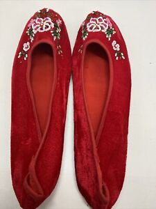 Chinese Handmade Embroidered Floral Velvet Womens Slippers Indoor Shoes Size 38