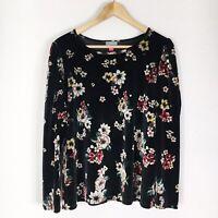 Vince Camuto Womens Size 1X Black Multi Color Floral Velvet Long Sleeve Top