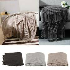 Chunky Knitted Thick Soft Blankets Hand Yarn Bulky Knit Throw Sofa Bed Blanket