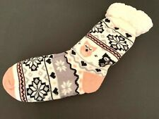 White Pink Lined Slipper Women's One Size New Sweater Print Cat Winter Cozy