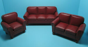 Dollhouse Miniature Red Leather Living Room Set Couch Love Seat and Chair T2013