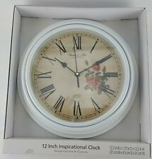 """12"""" ROUND KITCHEN CLOCK RED ROSES INSPIRATIONAL ROMAN NUMERALS WHITE FRAME"""