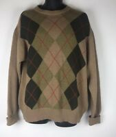 BARBOUR Size Large Vintage Mens Diamond Print Brown Mix Wool & CashmereJumper