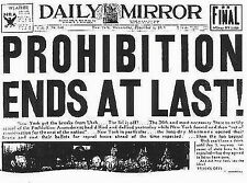 "Prohibition Ends at Last Daily Mirror Newspaper 1933 Dec-17""x22"" Art Print-00203"