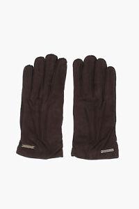 CORNELIANI men Gloves and Long Fingerless Gloves Leather Suede Burgundy Sz 8.5