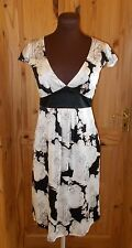 OASIS ivory off-white black French Toile PURE SILK short sleeve tea dress 8 34
