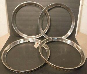 "15"" Aluminum Hubcap Beauty Trim Rings GM Chevrolet Truck GMC Set of 4 Rings"