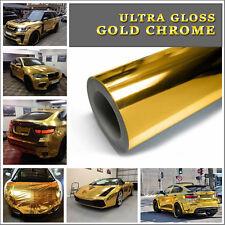 400x152cm di Qualità Elasticizzato Ultra Lucido Cromo Oro Veicolo Pellicola in